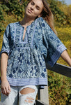 MONET PINTUCK BLOUSE BLUE MULTI PATTERN
