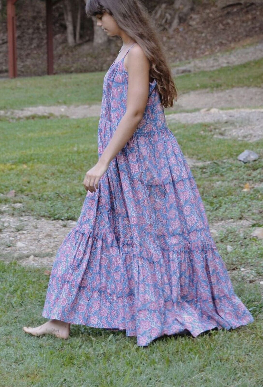 PAINTERLY MAXI DRESS BLUE HAND BLOCK FLORAL