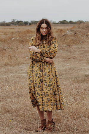 PRAIRIE GOLDEN HAND BLOCK  FLORAL DRESS