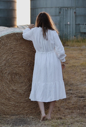 PRAIRIE WHITE BRODERIE EMBROIDERED LACE COTTON DRESS