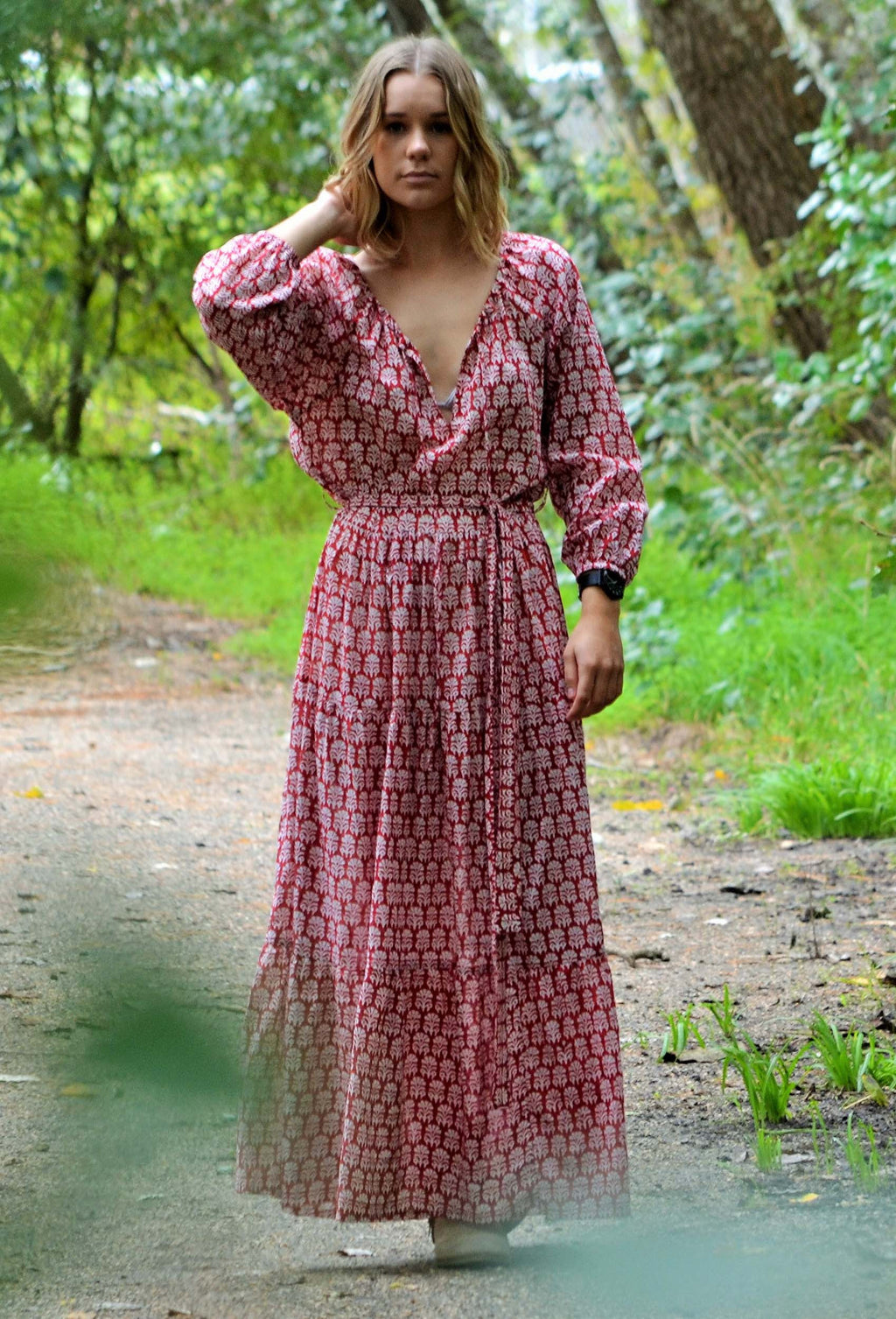 PRU MAXI DRESS RUST HANDBLOCK
