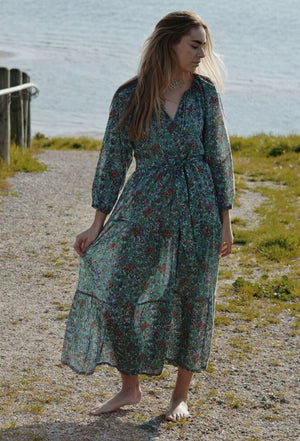PRU MAXI DRESS TURQUOISE FLORAL