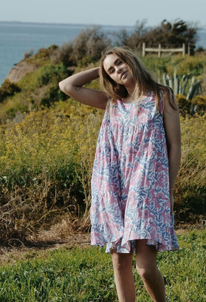 SABINE DRESS PINK & BLUE FLORAL