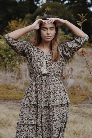 THEA ALMOND BROWN FLORAL DRESS