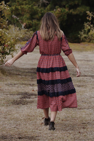 THEA RED & NAVY STAMP PRINT DRESS
