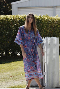 THEODORA WRAP DRESS BLUE PINK FLORAL