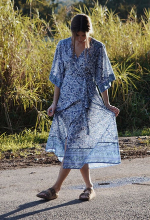 THEODORA WRAP DRESS BLUE FLORAL
