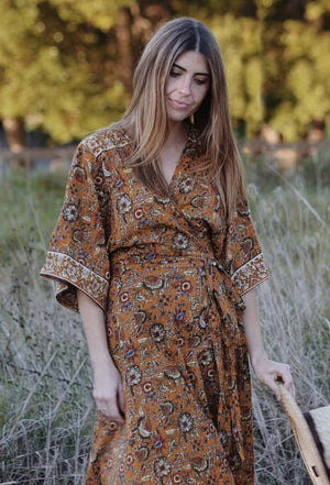 THEODORA WRAP DRESS EARTHY FLORAL
