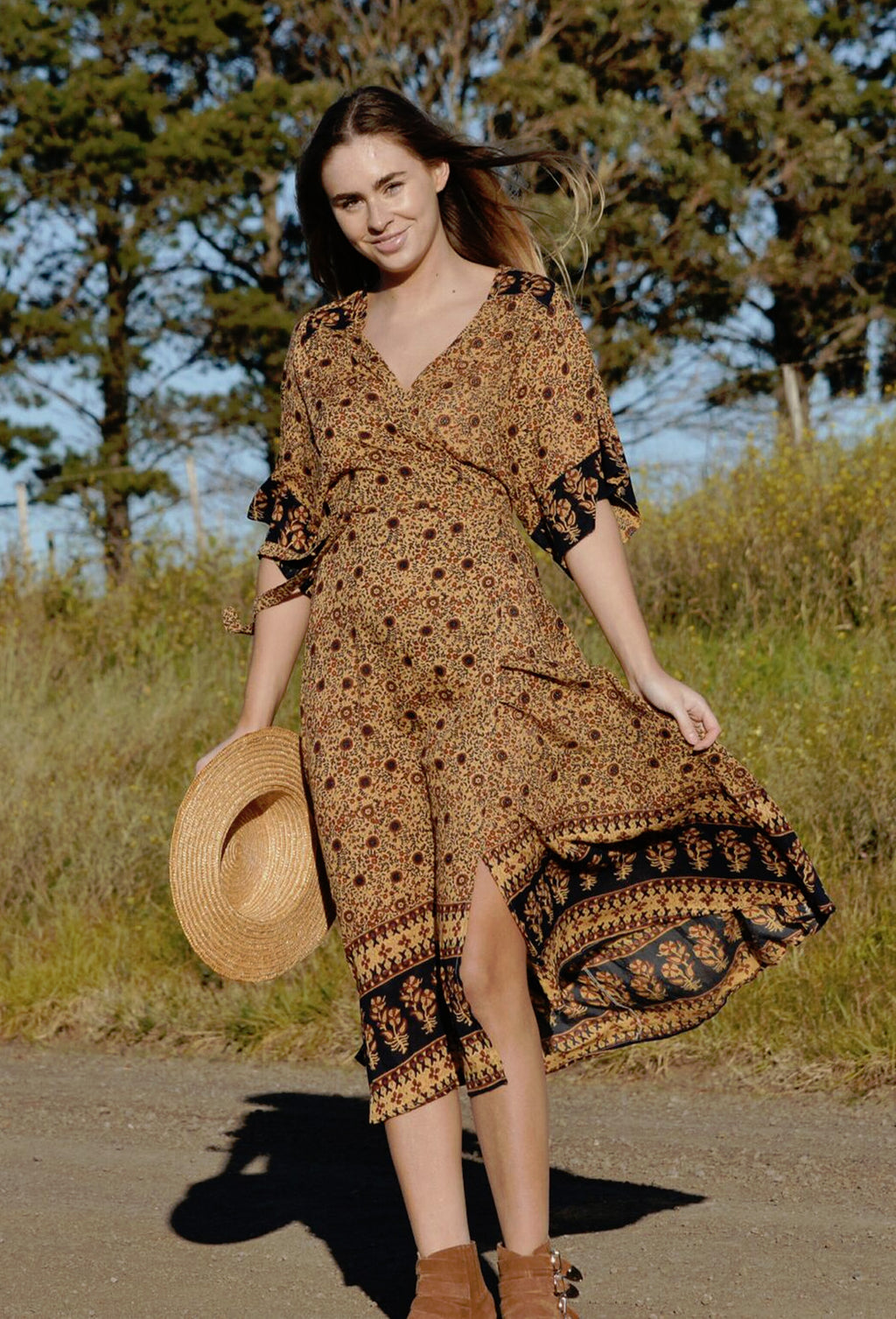 THEODORA WRAP DRESS GOLD FLORAL