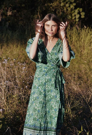 THEODORA WRAP DRESS GREEN FLORAL