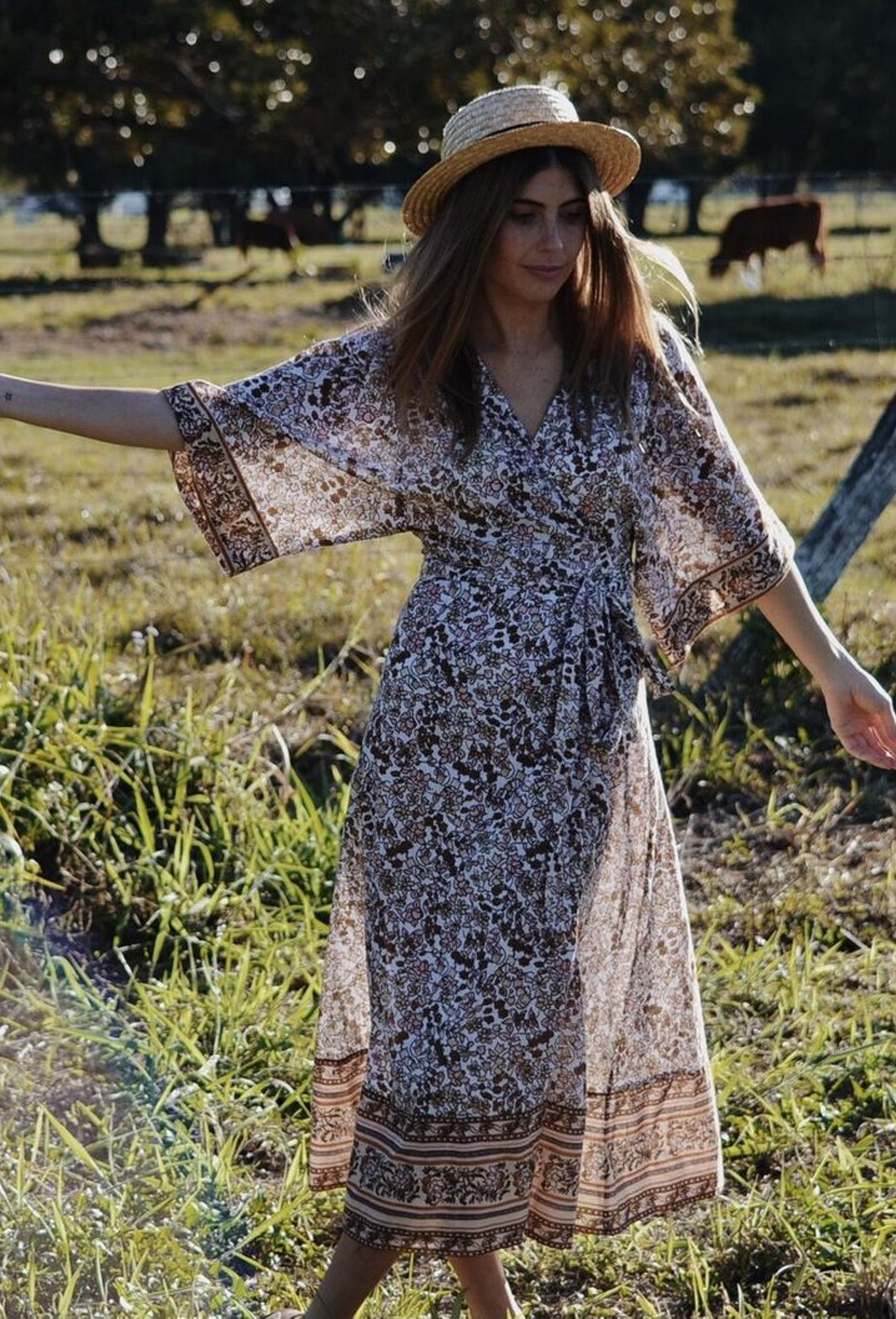 THEODORA WRAP DRESS DUSTY PINK FLORAL