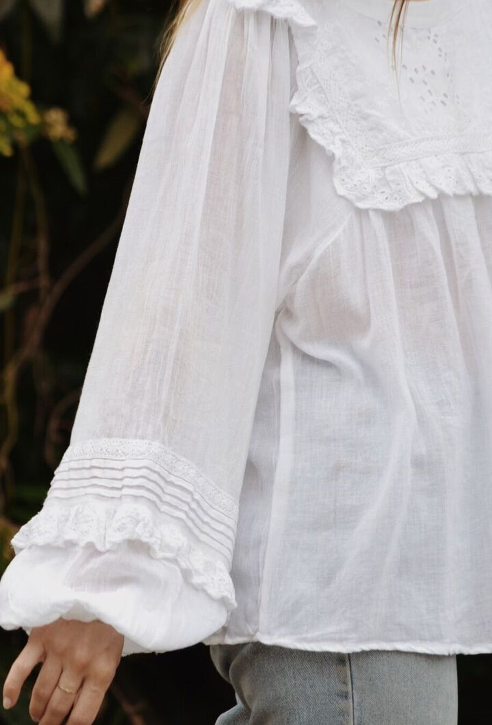BEATRIX BLOUSE WHITE COTTON GAUZE