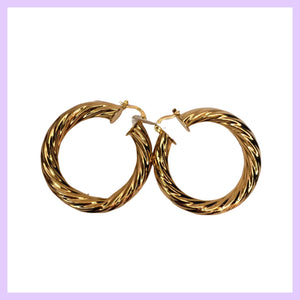 Large Chunky Etched Hoop Earrings