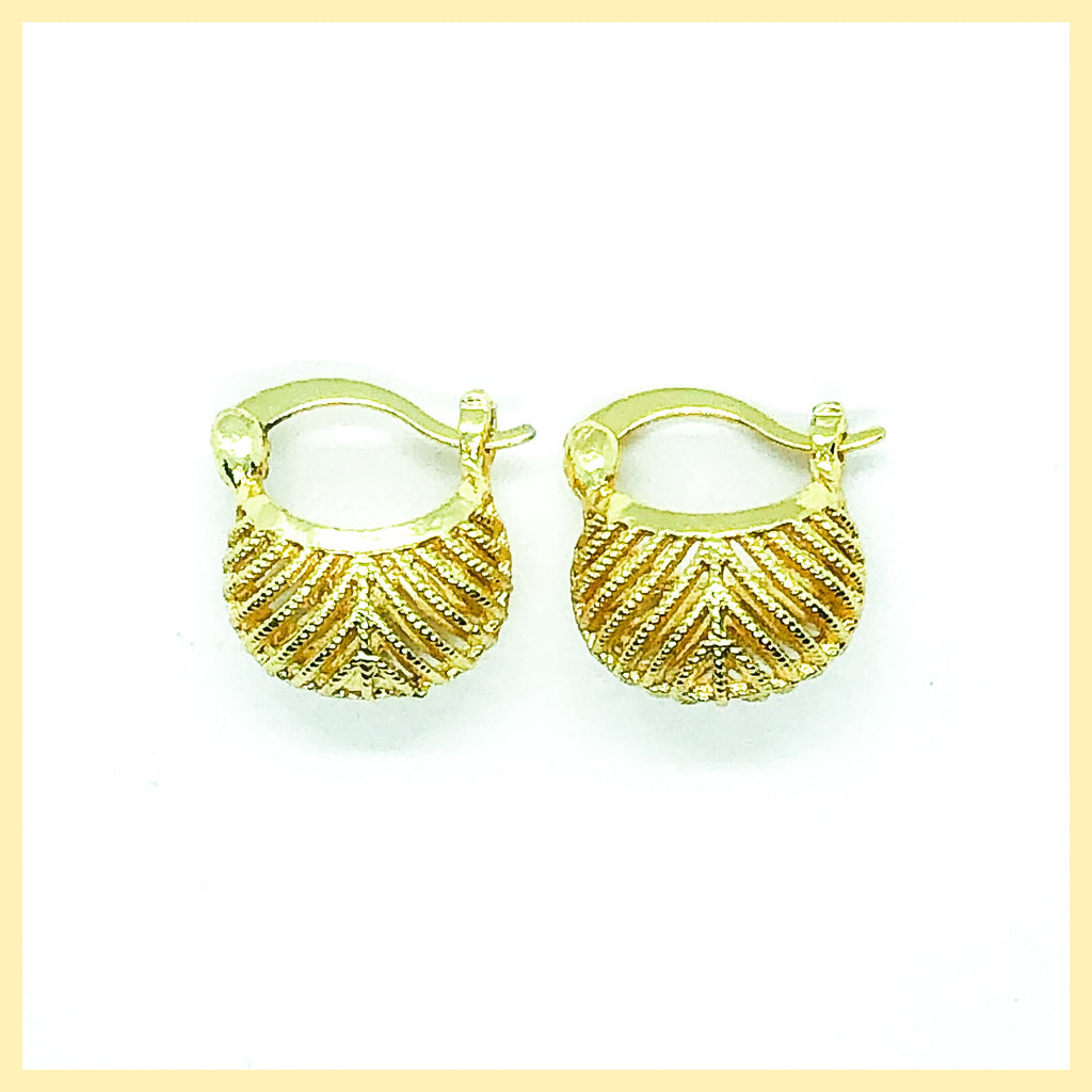 Filigree Puff Hoop Earrings