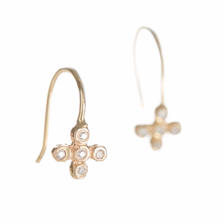 Dewdrop Diamond Cross Earrings