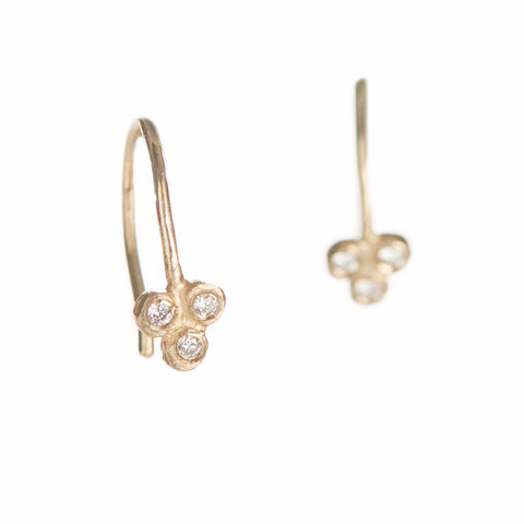 Dewdrop Diamond Tri Cluster Earrings