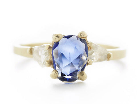 Asymmetrical Blue Sapphire Diamond Ring