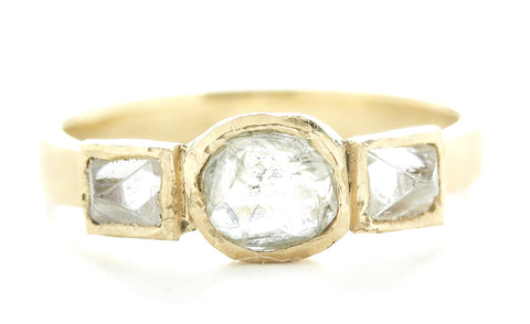 Asymmetrical Three Raw Diamond Ring