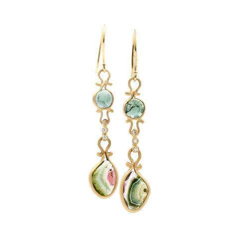Asymmetrical Green Watermelon Tourmaline Drop Earrings