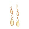 Asymmetrical Spessartite Garnet Sphene Drop Earrings