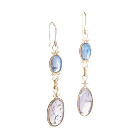 Asymmetrical Kyanite Tanzanite Drop Earrings