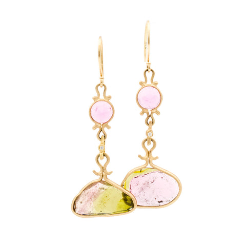 Asymmetrical Watermelon Tourmaline Earrings