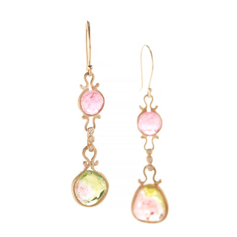 Asymmetrical Rubellite Watermelon Tourmaline Drop Earrings