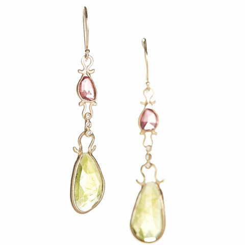 Asymmetrical Rhodolite Garnet Sphene Drop Earrings