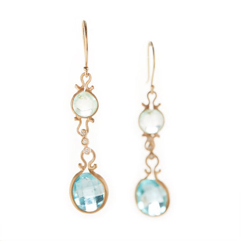 Asymmetrical Emerald Apatite Drop Earrings
