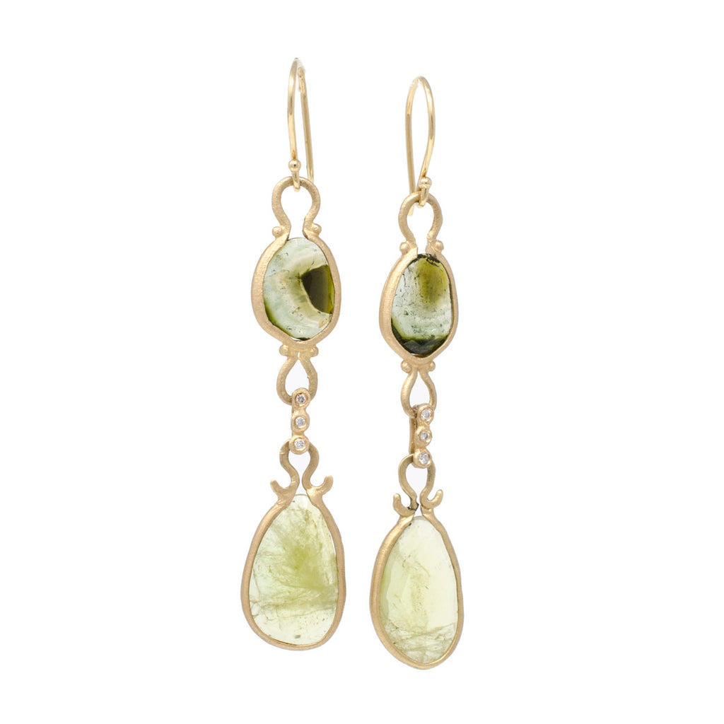 Asymmetrical Green Watermelon Tourmaline Sphene Drop Earrings