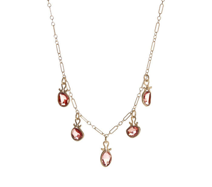 Asymmetrical Rhodolite Garnet Necklace