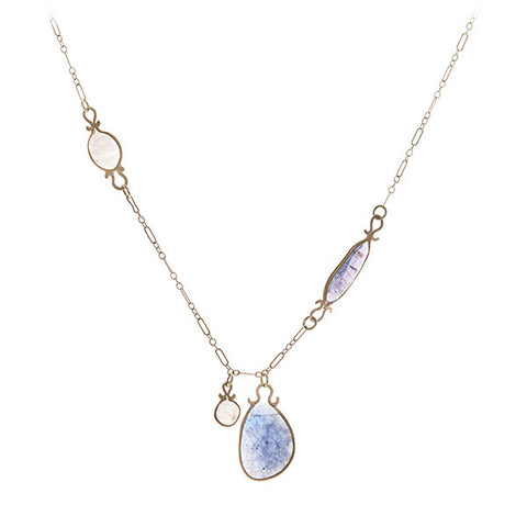 Asymmetrical Long Tanzanite Moonstone Necklace