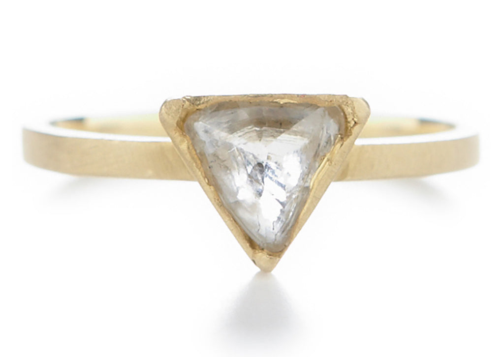 Triangle Opaque Diamond Asymmetrical Ring