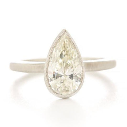 Blockette Pear Diamond Ring