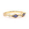 Blockette Kite Blue Sapphire Diamond Ring