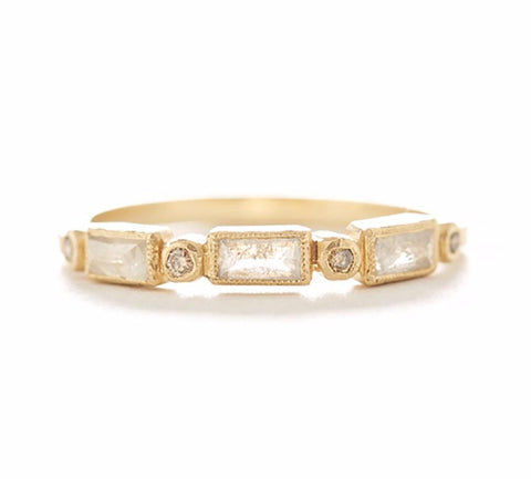 Blockette Baguette Opaque Diamond Ring