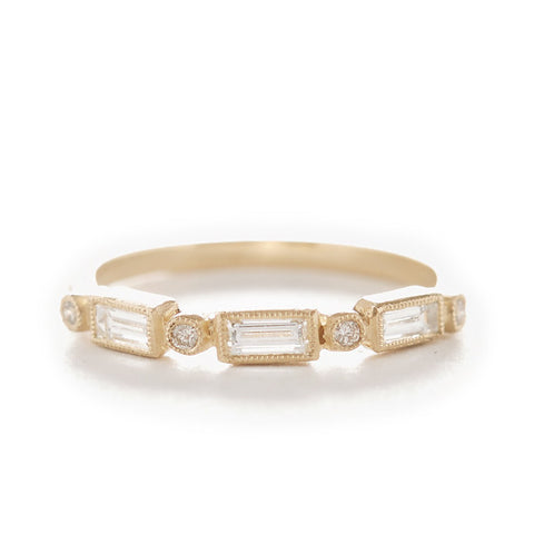 Blockette White Diamond Baguette Ring