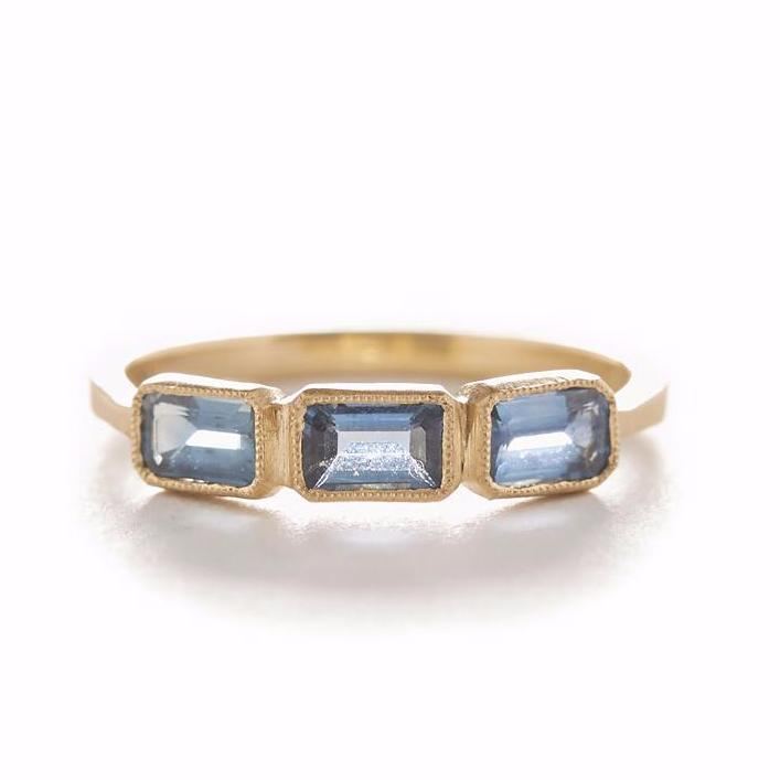 Blockette Emerald Cut Blue Sapphire Ring