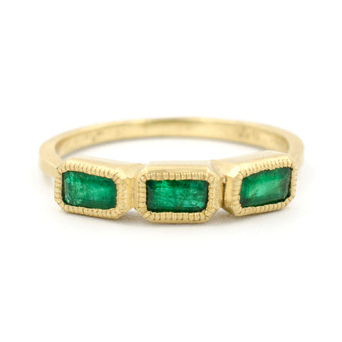Blockette Emerald Cut Emerald Ring