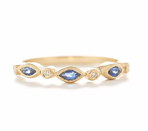 Blockette Marquise Blue Sapphire Diamond Ring