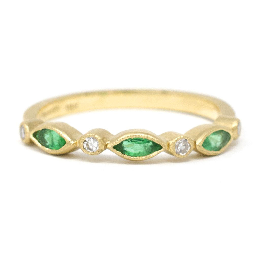 Blockette Emerald Marquise Diamond Ring