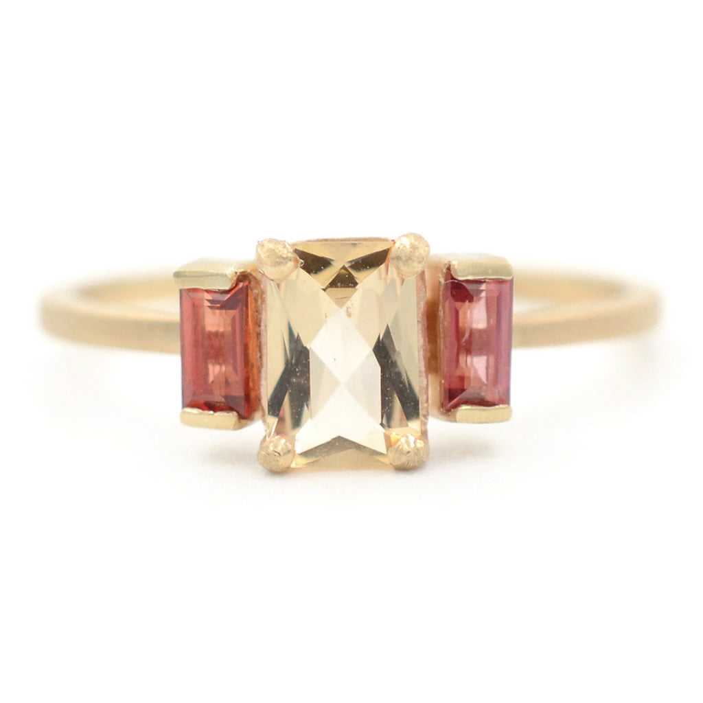 Blockette Three Stone Imperial Topaz Ring