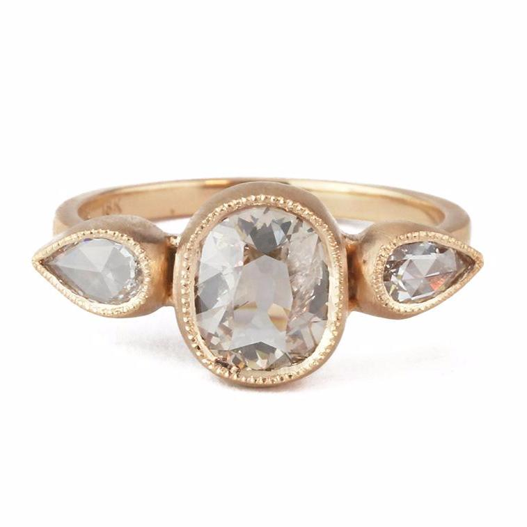 Blockette Champagne White Diamond Ring