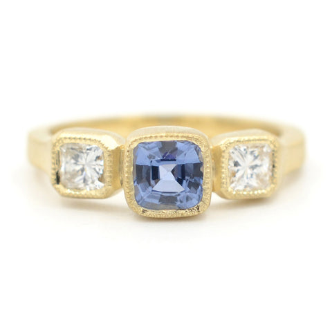 Blockette Blue Sapphire Diamond Ring