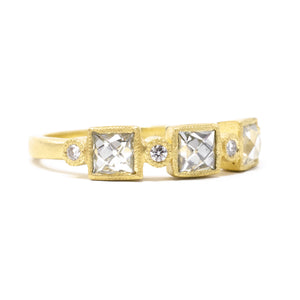 Blockette Three Square Diamond Ring