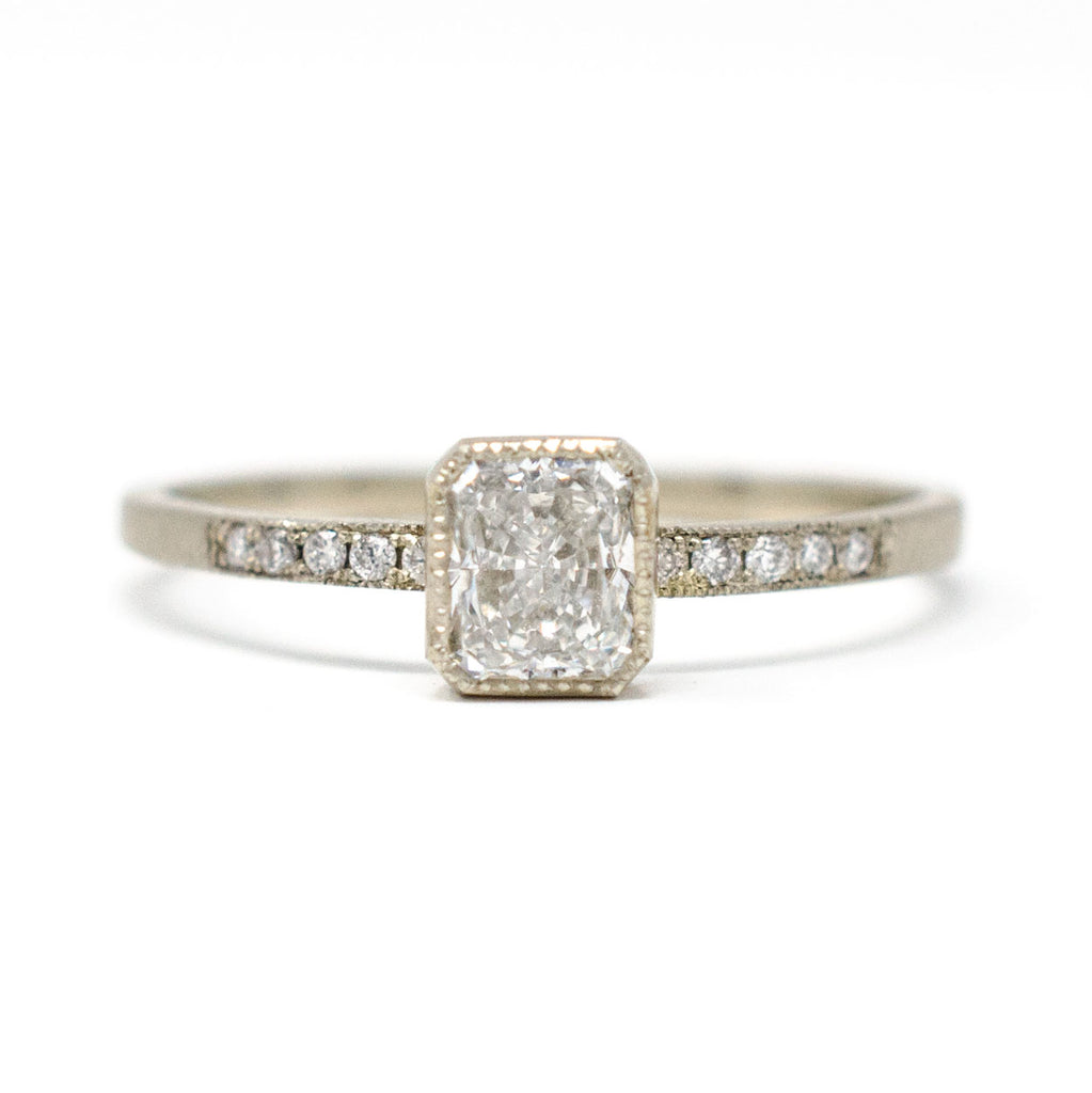 Blockette Radiant Cut Diamond Pave Ring