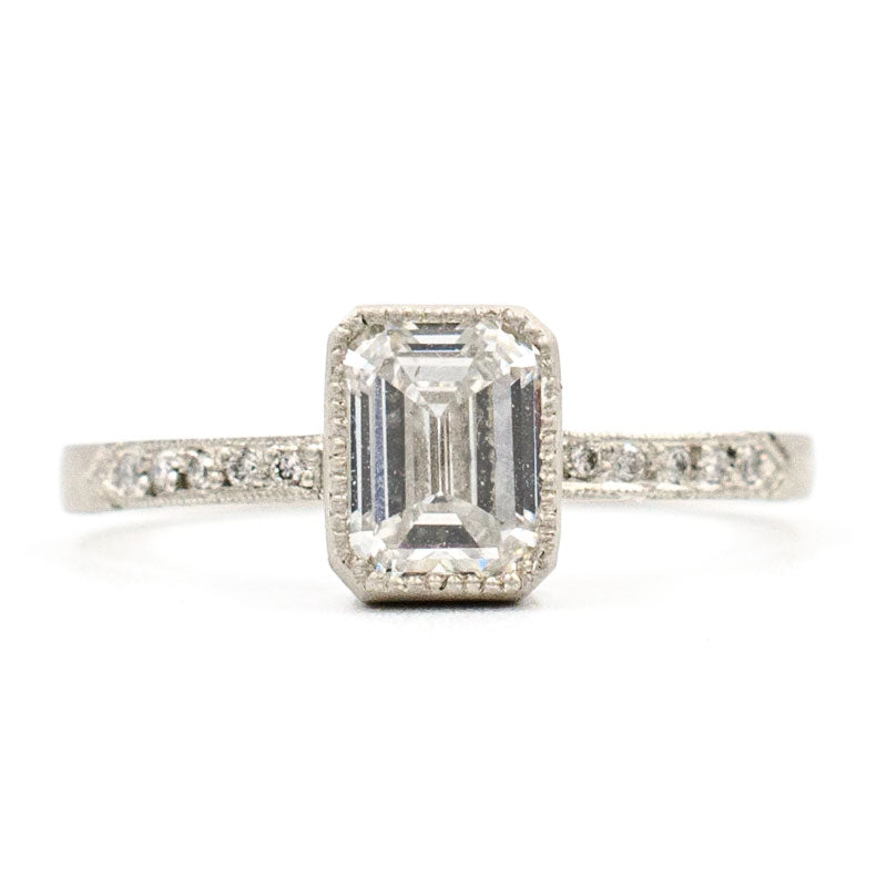 product platinum ring emerald engagement halo cut diamond