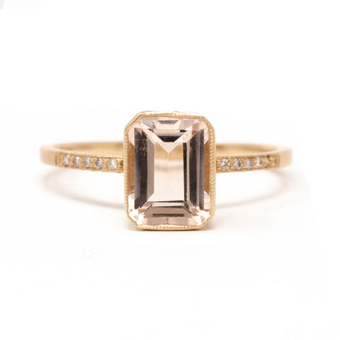 Blockette Small Morganite Pave Cocktail Ring