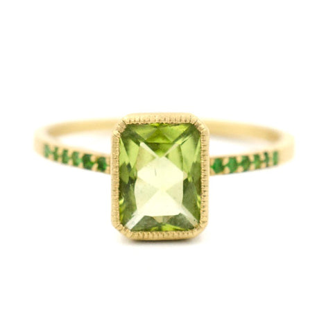 Blockette Peridot Pave Cocktail Ring