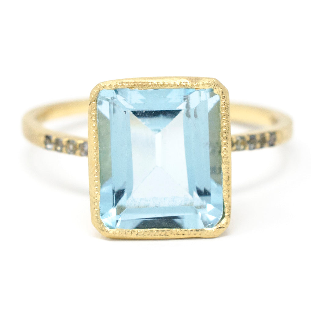 Blockette Blue Topaz Pave Cocktail Ring